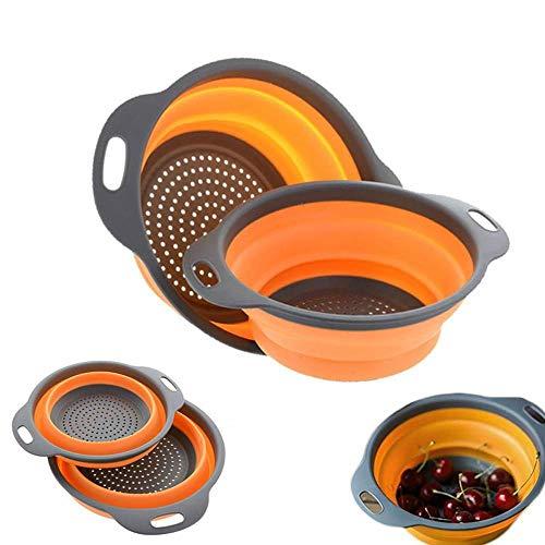 Colador de silicona plegable fruta vegetal lavado canasta colador colector escurrimiento plegable con mango de cocina herramientas (Color : Blue, Size : S and L(2pcs))