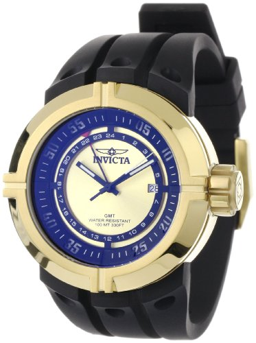 Invicta Men's 0834 Force Collection Contender GMT Gold Dial Black Polyurethane Watch