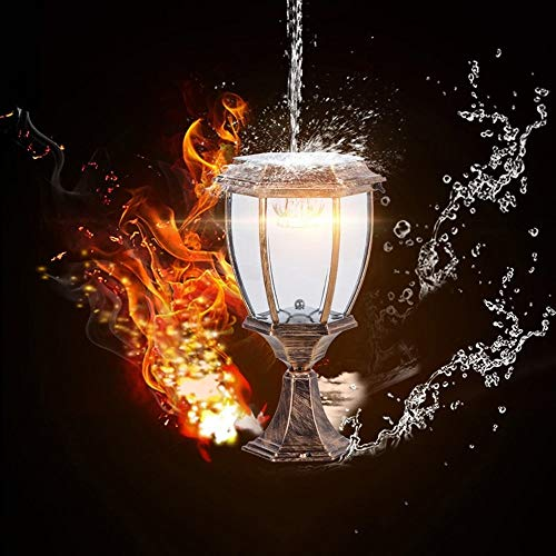 Zhong$chuang zwart smeedijzeren zuil lamp retro waterdichte LED outdoor spleten lamp tafellamp lantaarnpval