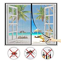 マグネット式網戸,防蚊や虫電磁ドアり され 取付簡単に自動的に密閉,適用最もするドア/ベランダ/玄関/アパート ベランダ サッシドア 穴をあける必要がなく,ほとんどのドアや窓に使用されています-Black A||43x62inch(110x160cm)