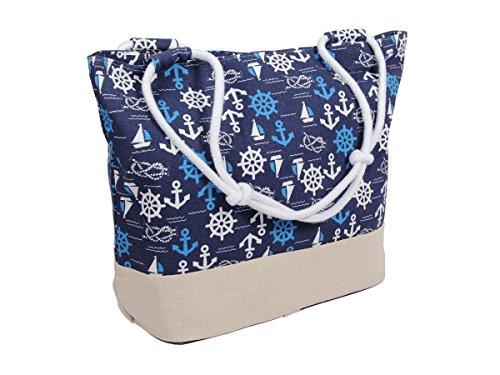 Hanessa Maritime Strand-Tasche mit Reisverschluss Anker Motiv Aufdruck Sportbeutel Rucksack Tasche für Frauen und Mädchen Sport-Tasche Einkaufs-Tasche Maritim Beige Blau Weiß TT-M15