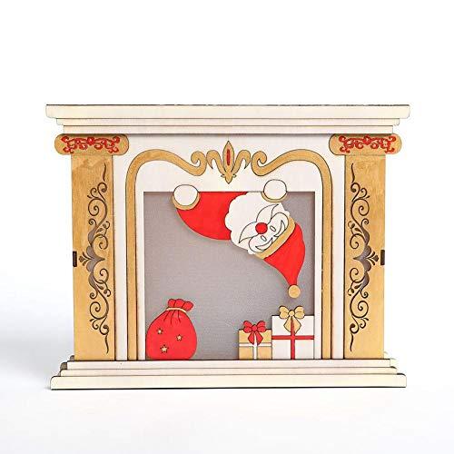 Oshide Wood House chimenea Navidad Cabinas Luminosas Decoración de Mesa de Regalo Creativo Adornos de Navidad para la Fiesta de Inicio Iluminación LED