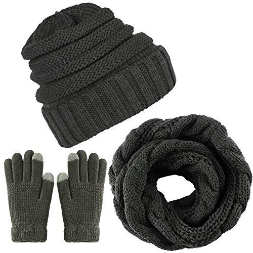 CheChury Winter Schal Strickmütze Kombiset Strickset Beanie Handschuhe Damen Schal Mütze Handschuhe Set Gestrickt Geschenkset Touchscreen-Handschuhe