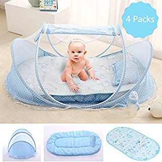 Baby Travel Bed, Portable Folding Baby Crib Mosquito Net Tent Foldable Baby Cots Newborn Foldable Crib for 12-24 Month (Blue Tent+Mat)