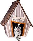 dobar 55012 Hundehütte ,XL Outdoor Hundehaus für große Hunde , Platz für ein Hundebett , Hundehöhle mit Spitzdach , 90x77x109 cm , 14kg Holzhütte , entfernbarer Boden | Farbe: braun/grau - 5