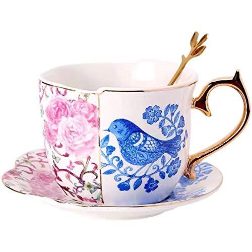 JFCXBSSL Juego de taza y platillo, 13 x 6 cm, diseño de pájaros y flores de cerámica irregulares, 3 piezas, taza de té de la tarde con mango
