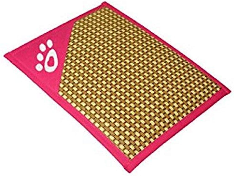 XINXI HOME Comfortable Thin Stripes Design Pet Mat Anti Slip Summer Cooling Mat (55 * 43 * 2cm, Rosy) Pet Bed Blanket