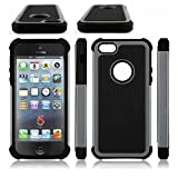 AGRIGLE Shock- Absorption/High Impact Resistant Hybrid Dual Layer Armor Defender Full Body Protective Cover Case Compatible with iPhone 5/5S/SE(2016) (Gray)