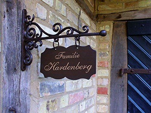 Antikas - Hausschild Hausnummer Ladenschild Namenschild, Tür Schild 30 x 19 Hardenberg eckig