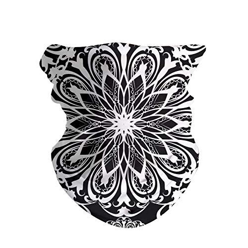 HAOZI 2 diademas para la cabeza, bufanda mágica deportiva, diadema elástica alta con resistencia a los rayos UV, vendaje atlético, banda para el sudor para hombre y mujer, color Floral negro y blanco., tamaño 50 CM x 25 CM