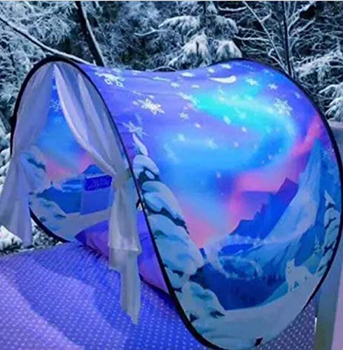 JORCEDI Dream Tents Winter Wonderland Fantasy Fun for Kids,Foldable Play Tents, Pop up Outdoor Indoor Bed Tents,Twin Size,Magic Playhouse Princess Secret Castle,Birthday for Girls