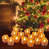 Kasimir e kerzen LED Kerzen Flammenlose 15 Stück Teelichter mit Timer 6 Std an - 18 Std aus - Realistisches Flammenflackern Für Hochzeiten Feste Partys usw. Inkl CR2032 Batterien Bernstein