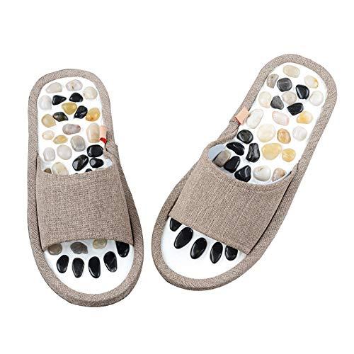 Byjia Reflexzonen Pantoffeln, Sandalen Für Das Gesundheitswesen, Shiatsu Fußmassage Akupressur Paar Schuh,Grau,39~40