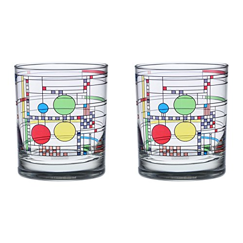 Frank Lloyd Wright DOF Double Old Fashioned Glass 14-Ounce (Set of 2,...