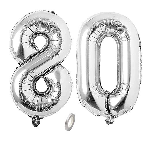 Jrzyhi Globos con números para 80 cumpleaños, plateados, diseño de número 80, helio gigante, número 80, número XXL, número 80, para cumpleaños, bodas, fiestas, decoración, 32 pulgadas