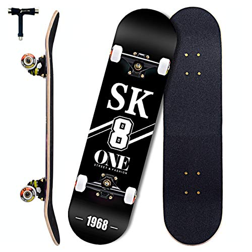 Sumeber Skateboards - Tabla de skate 80 x 20 cm, doble patada para adultos, para principiantes, monopatín completo para adolescentes, niñas, niños y adultos como cumpleaños (SK8)