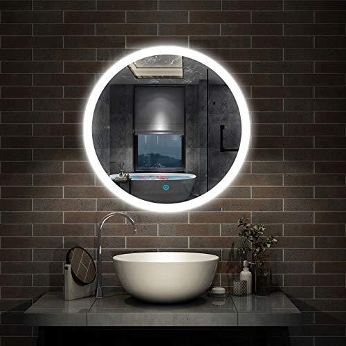 AICA SANITARIOS 60x60cm Espejo Baño Redondo con Luz Led Blanco Espejo de Maquillaje Interruptor de Sensor Táctil, Función Antiniebla, Montado en la Pared-3cm