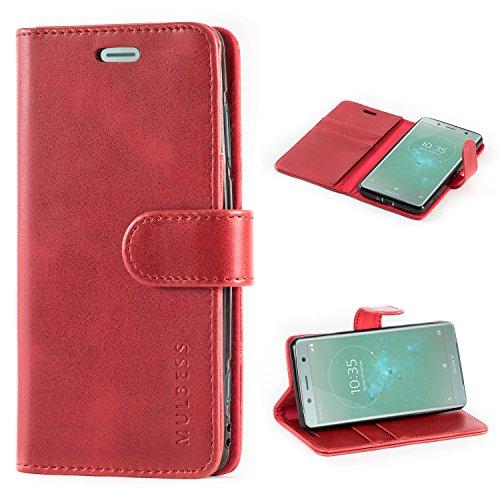 Mulbess Handyhülle für Sony Xperia XZ2 Compact Hülle Leder, Sony Xperia XZ2 Compact Handytasche, Vintage Flip Schutzhülle für Sony Xperia XZ2 Compact Case, Wein Rot