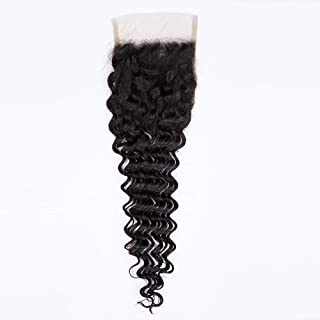 Hairpieces Hairpieces Brazilian Deep Wave 4 * 4 Closure Lace Frontal Closure Natural Color Unprocessed Remy Human Hair for Daily Use and Party (Color : Black, Size : 18 inch)