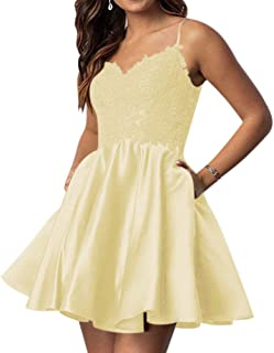 QueenBridal Women's Spaghetti Straps Homecoming Prom Dress Appliques W/ Pockets
