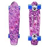 Playshion Complete 22 Inch Mini Cruiser Skateboard for Beginner with Sturdy Deck Galaxy