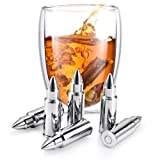 Set of 6 Whiskey Chilling Stones Reusable Stainless Steel Bullet Shaped Rocks with Tongs and Storage Pouch | Perfect Gift for Whiskey Lover