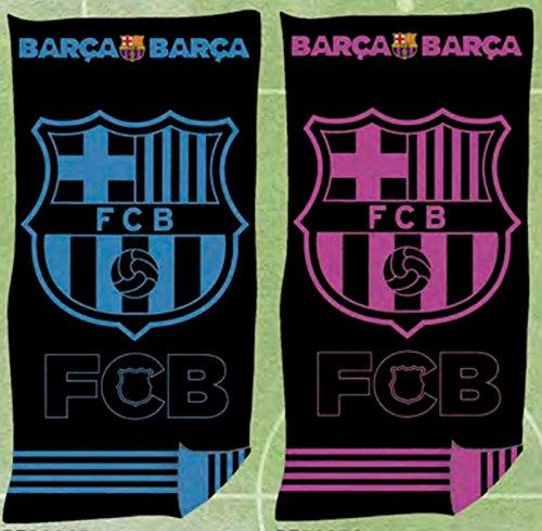 FCB Toalla Playa Oficial FC Barcelona Jaqcuard 100% Algodón 90x170 cms (Disponible en Azul y Rosa) (Rosa)