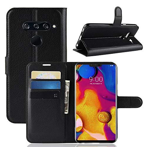 HongMan Handyhülle für LG V40 ThinQ Hülle, Premium Leder PU Flip Hülle Wallet Lederhülle Klapphülle Magnetisch Silikon Bumper Schutzhülle Tasche mit Kartenfach Geld Slot Ständer, Schwarz