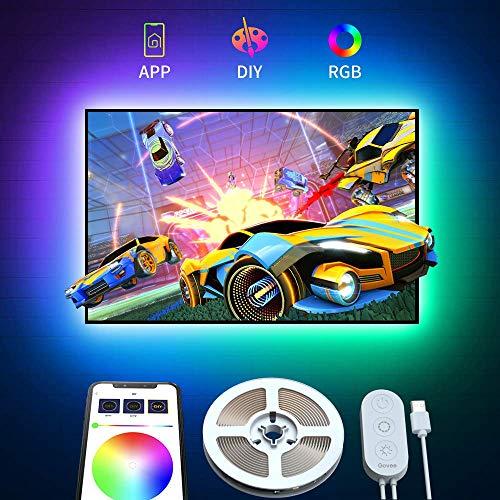 TV Hintergrundbeleuchtung, Govee 2m LED Strip Lichtband Fernseher USB LED Streifen Band mit APP, TV Beleuchtung RGB für 45-55 Zoll HDTV, PC Bildschirm, Spieltisch