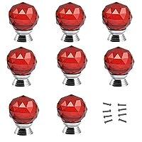 30mm 8個赤いダイヤモンドの形のクリスタルガラスのキャビネットノブ戸棚引き出しプルハンドル/食器棚、キッチン、バスルームキャビネット、シャッター、ワードローブ (Color : Red)