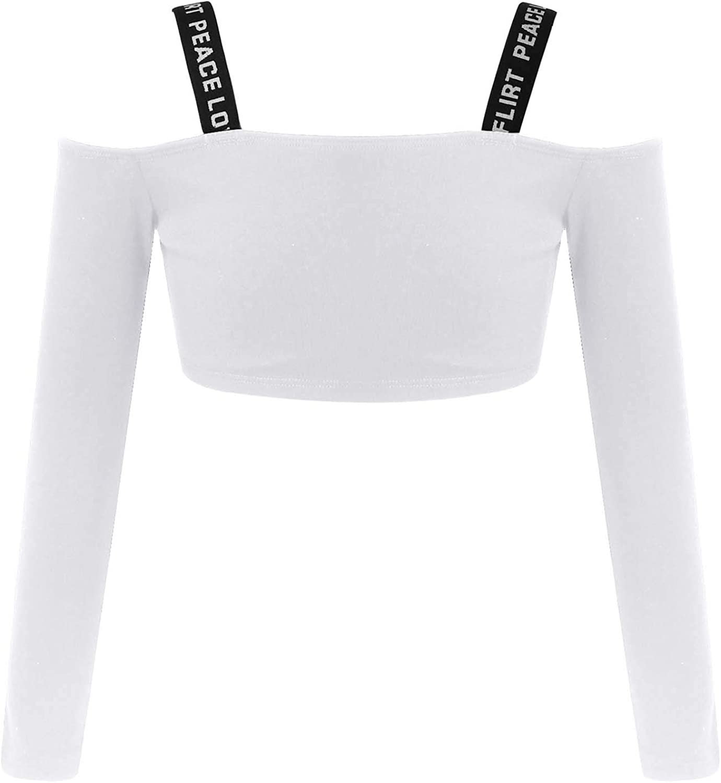 TTAO Kids Girls Long Sleeve Off Shoulder Cropped T-Shirt Dancing Yoga Gym Crop Top Slim Fit Streetwear