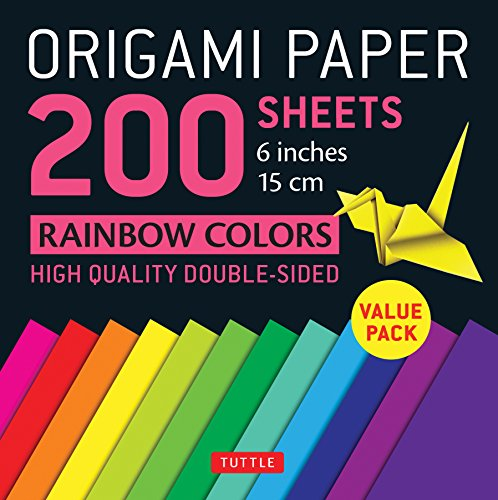 """Origami Paper 200 sheets Rainbow Colors 6"""" (15 cm): Tuttle Origami Paper: High-Quality Double Sided Origami Sheets Printed with 12 Different Designs (Instructions for 6 Projects Included) (Stationery)"""