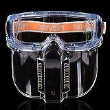 Gafas de seguridad con protector facial desmontable: transparente a prueba de...