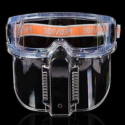 Gafas de seguridad con protector facial desmontable: transparente a prueba de salpicaduras,a prueba de impacto y a…