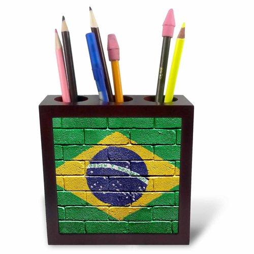 3drose PH 155195 1 National vlag van Brazilië een Brick muur geschilderd Braziliaanse tile pennenhouder, 12,7 cm