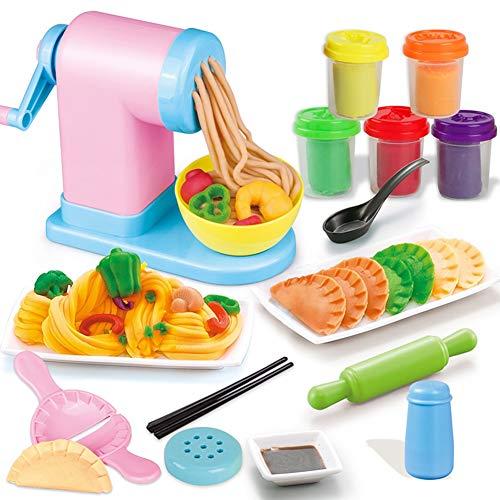 MKYVERAY Nudelmaschine Spielzeug, Knete/Knetmasse Set/Kinderknete/Knetwerkzeug mit Farbenfrohrer Farben für Herstellen von Nudeln