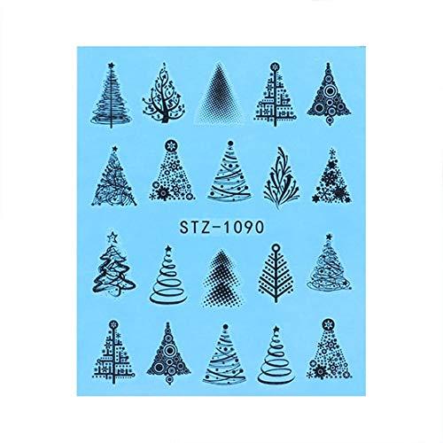 BLOUR Nagel Aufkleber Hirsch Weihnachtsbaum Wassertransfer Aufkleber Nail Art Sliders Folien Winter Design Maniküre Dekoration TRSTZ1082-1097