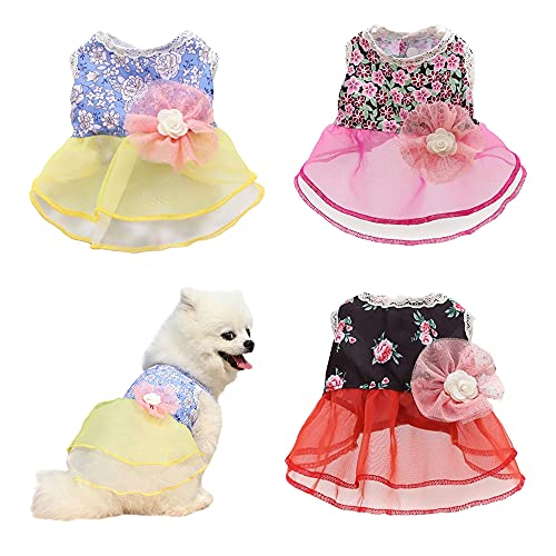 sensiya 3 Pcs Dog Dresses for Small Dogs Girl Dog Wedding Dress Dogs Dog Summer Clothes Puppy Cat Outfit for Chihuahua Thunder French Bulldog Dachshund Shitzu (X-Small)