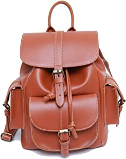 Happy-L Handbags New Retro Locomotive Pu Leather Backpack Ladies Men's Couple Soft Face Personality Backpack Casual (Color : Brown, Size : 20 * 30 * 12cm)