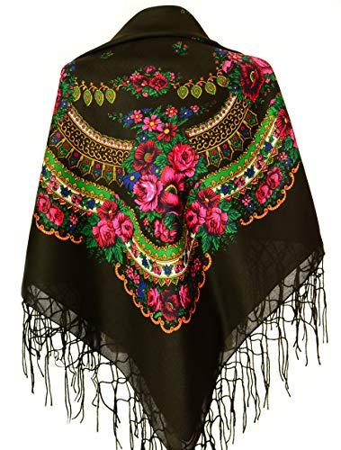 Halstuch mit traditionellem ukrainischem/polnischem/russischem Blumenmuster und Fransen -  Schwarz -