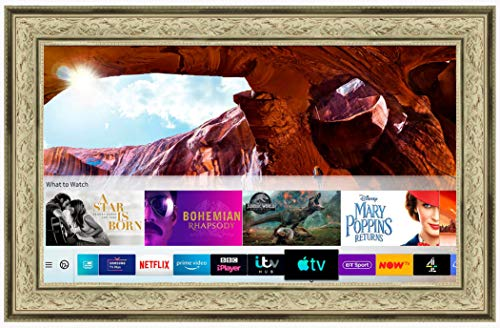 Framed Mirror TV with Samsung Q60 4K Ultra HD HDR Smart LED TV (50 inch, Antique Cream Ornate)