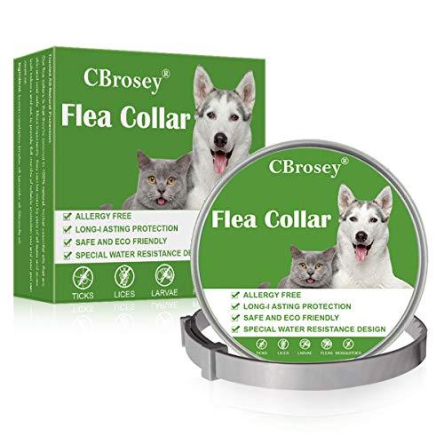 CBROSEY Zeckenhalsband für Hunde,Floh Zeckenhalsband,Zecken Halsband für Katze, Wasserdicht Einstellbar 25 Zoll Anti Floh Halsband zum Die Meisten Hunde Katzen