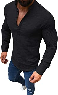 Mens Linen Long Sleeve V Neck Button Up Shirts Muscle Casual Business Fit Tops