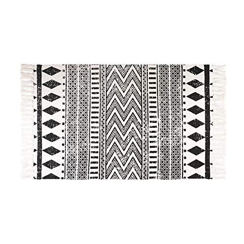 Aonewoe Baumwolle Teppiche Maschinenwaschbare Baumwollmatten mit Quaste Indoor Handgewebte Wurf Runner für Schlafzimmer Wohnzimmer Waschküche 60x90CM
