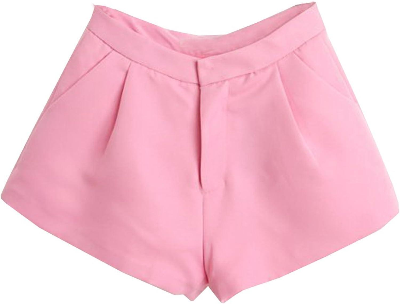 Unomatch Women's Casual Wide Leg Short Pink