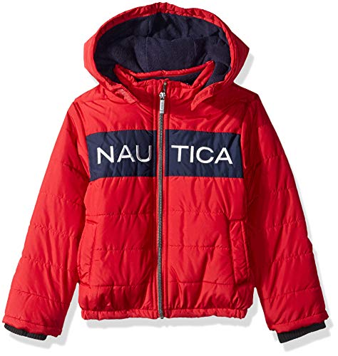 Nautica Boys' Toddler Water Resistant Signature Bubble Jacket with Storm Cuffs, Arthur red, 2T
