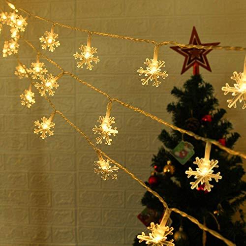 Ibello - Guirnalda de frasco de nieve, 2,95 m, 20 ledes, guirnalda de Navidad, luminosa, luz blanca cálida, 2 modos, decoración de habitación y ventana