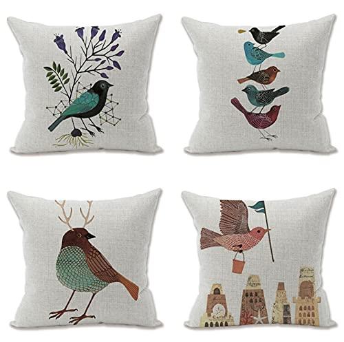 KaiXINSun Throw Pillow Fundas Paquete De 4 Funda De Almohada De 18X18 Pulgadas Funda Decorativa para Sofá De Casa Cuadrada Cremallera Invisible 45X45Cm Patrón De Ciudad De Pájaro Fresco
