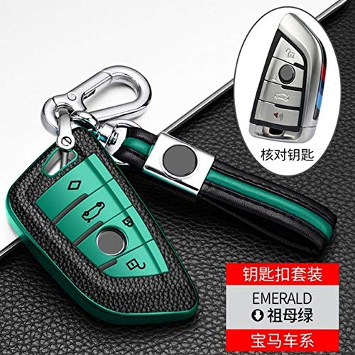 HEZHOUJI Autoschlüssel Hülle, 4 Tasten Voll versiegelte TPU-Autoschlüssel-Gehäuseabdeckung Kompatibel mit BMW 1 2 5 7 Serie X1 X3 X5 X6,Smaragdkette