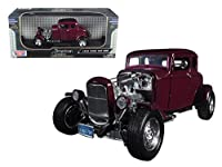 1932 Ford Coupe Burgundy \Timeless Classics\ 1/18 Diecast Model Car by Motormax